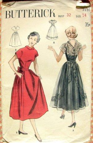 Lace Bodice Dress Vintage 50s Sewing Pattern Butterick 5157