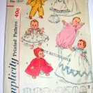 "13 1/2"" Baby Doll Wardrobe Vintage 50s Sewing Pattern Simplicity 1844"