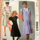 Misses 80s Dropped Waist Dress McCall's 8883 Vintage Sewing Pattern