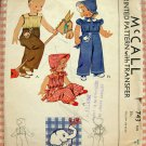 Brother and Sister Overalls, Cap and Bonnet  McCall' 743 Vintage 40s Sewing Pattern