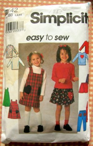 Girl's Jumper, Skirt, Pants & Knit Top Simplicity 7742 Sewing Pattern