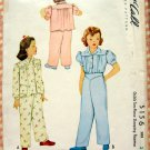 Toddler Girl's Pajamas McCall 5156 Vintage 40s Sewing Pattern
