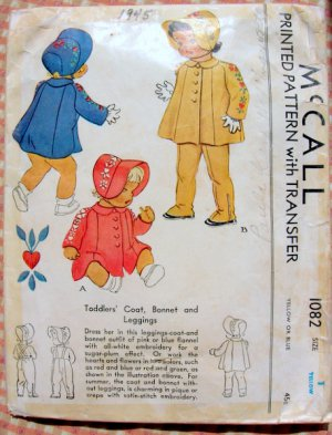 Toddler&#039;s Coat, Bonnet and Leggings McCall 1082 Vintage Sewing Pattern