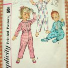 Toddlers Pajamas Vintage Sewing Pattern Simplicity 4535 Sz 1