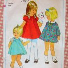 Toddler 60s Puffed Sleeve Dress and Panties Vintage Pattern Simplicity 7374