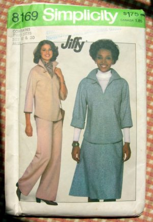 Misses Top, Pants, Skirt and Pants Vintage 70s Pattern Simplicity 8169