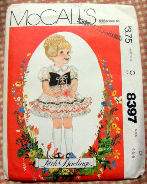 Girl&#039;s Bavarian Style Little Darlings Dress Sewing Pattern McCall&#039;s 8397