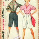 Misses Fitted Blouse and High Waisted Shorts Vintage 50s Pattern Simplicity 4746