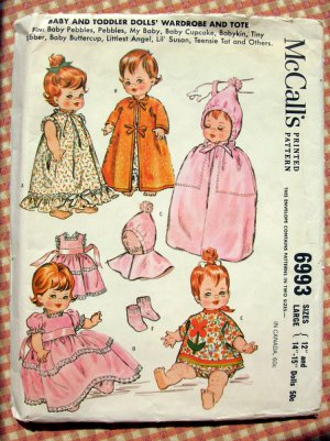 "12"" to 15"" Baby Doll Clothing Vintage Sewing Pattern McCall's 6993"