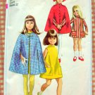 GIRLS' CAPE AND DRESS Vintage 60s Sewing Pattern Simplicity 7520