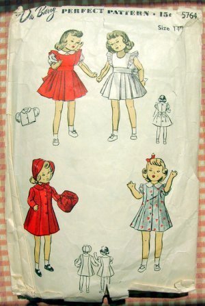 "Original 1940s Vintage Sewing Pattern 14"" Doll Wardrobe DuBarry 5764"