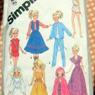 "80s 11.5""  or 12.5"" Fashion Doll Clothes Simplicity Sewing Pattern 5356"