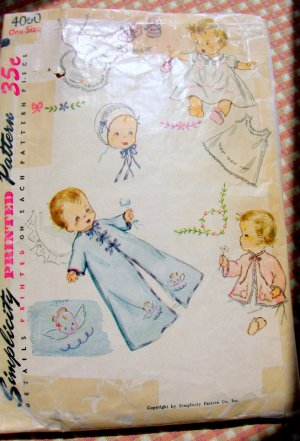 Layette with Angel Transfer Vintage Sewiing Pattern Simplicity 4060