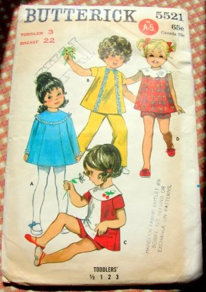 Toddler Color Blocked Dress and Shorts Vintage 60s Sewing Pattern Butterick 5521
