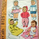 Baby and Toddler Dolls Handknit and Sewn Wardrobe Pattern McCall's 8125