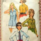 Plus Size Menswear Blouses Shirts and Tie Vintage 70s Pattern Simplicity 5022