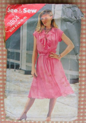 Vintage 80s Pattern Misses Mock Wrap Dress Butterick See & Sew 3804