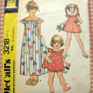 Girl&#39;s Maxi Dress and Top and Panties Vintage 70s Sewing Pattern McCalls 3218