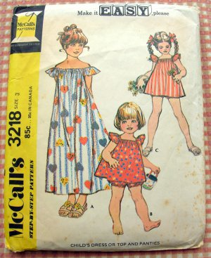 Girl's Maxi Dress and Top and Panties Vintage 70s Sewing Pattern McCalls 3218