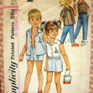 Brother and Sister Matching Shirts, Shorts, Pants Simplicity 5984 Vintage Sewing Pattern Size 3