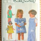 Toddlers Dress and Long or Short Overalls Vintage Sewing Pattern Simplicity 7353