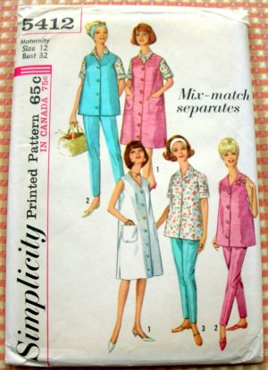Simplicity 5412 Maternity Dress Jumper Top Blouse Pants  Vintage Sewing Pattern