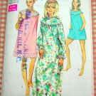 Misses Long and Shortie Nightgown Vintage 70s Pattern Simplicity 7910