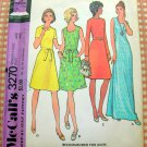 McCall's 3270 Plus Size Sheath Maxi Dress Vintage 70s Sewing Pattern