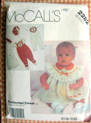 McCall's 2282 Infants Enchanted Forest  Dress Jumpsuit Blouse Panties Bonnet Sewing Pattern