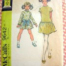 Girl's Dropwaist Dress with Petticoat  Vintage 60s Sewing Pattern McCalls 9642