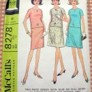 McCall's 8278 Two Piece Dress Vintage 60s Sewing Pattern