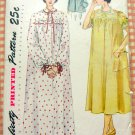 Misses Nightgown and Bed Jacket  Vintage 50s Sewing Pattern Simplicity 3388