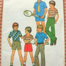 Boy's 70s Shirt, Knit Top, Shorts and Pants Pattern Simplicity 7513 Size 7
