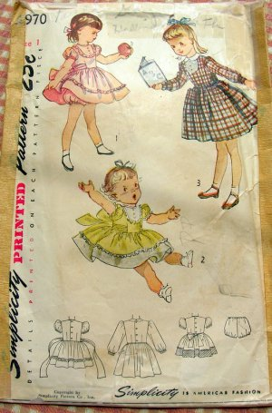 Toddler Dress and Panties Vintage 40s Sewing Pattern Simplicity 2970