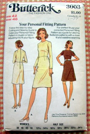Butterick 3003 Plus Size Women's Sewing Pattern Fitted Dress Vintage 70s