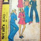 Girl's Pants, Skirt, Vest and Shirt Jacket Vintage 70s Sewing Pattern McCalls 4143