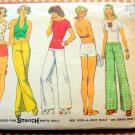 Misses Wide-Leg Pants, Bootie Shorts, Halter Top Vintage 70s Pattern Simplicity 6354
