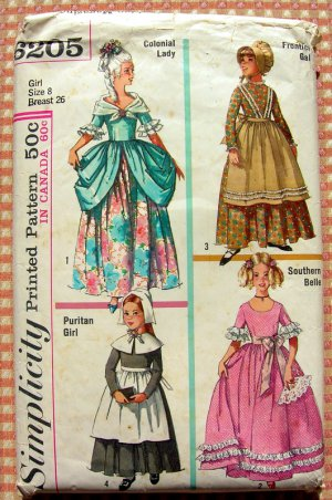Girls' Colonial, Puritan, Southern Belle, Frontier Costumes Vintage Sewing Pattern Simplicity 6205