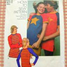 Misses Unisex Knit T Shirt Vintage 70s Sewing Pattern Simplicity 9570