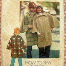 Misses Zippered Poncho Coat 1970s Vintage Sewing Pattern Simplicity 7122