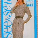 Plus Size Power Dress Vintage 80s Pattern Butterick See & Sew 6892