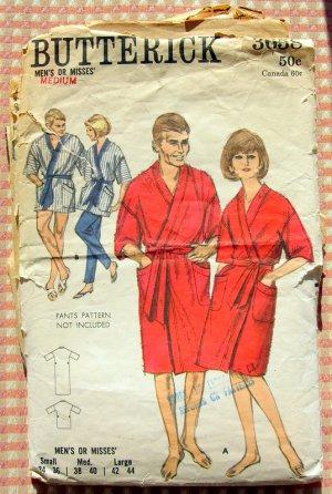 Unisex Bathrobe Vintage 60s Pattern Butterick 3658
