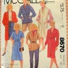 Plus Size Misses Dress, Jacket, Jumper and Shirt  80s Vintage Sewing Pattern McCalls 8670