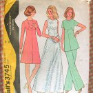 Misses Maxi Dress or Tunic and Pants 70s Vintage Sewing Pattern McCalls 3745