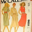 McCall's 6651 Plus Size Dress Vintage 70s Sewing Pattern