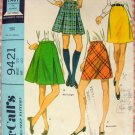 McCall's 9421 Misses Pleated Mini Skirt Vintage 60s Sewing Pattern