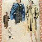 Vintage 40s Vogue Sewing Pattern 5142  Misses Winter Coat