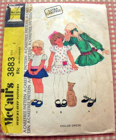 Toddler's Dropwaist Dress McCall's 3883 Vintage Sewing Pattern