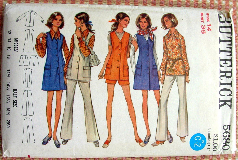 Misses Jumper, blouse & pants Vintage 70s Pattern Butterick 5680