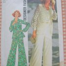 Misses Shirt Jacket, Top and Bell Bottom Pants 1970s Vintage Sewing Pattern Simplicity 7002